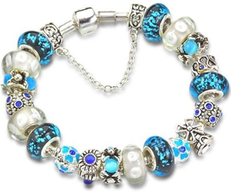 Valentine's Day gifts Blue murano glass bead charm beaded