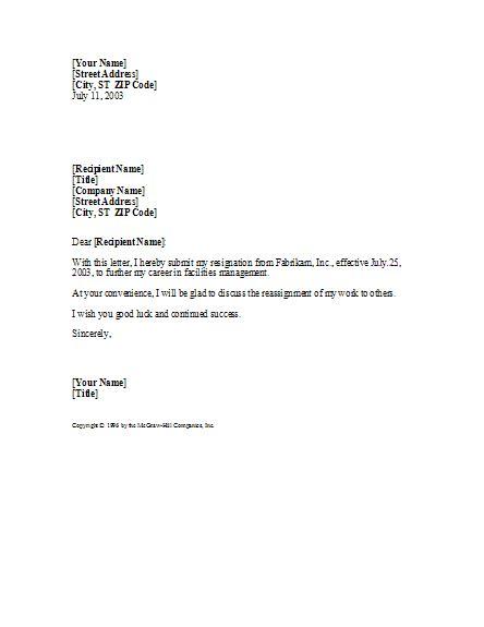 basic  professional resignation letter letter