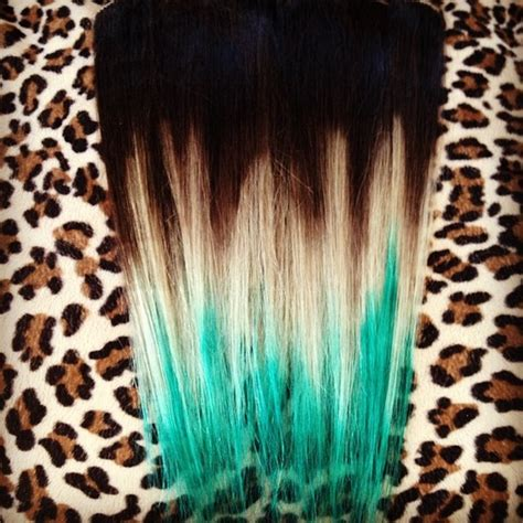 Brown To Blonde To Turquoise Intense Extensions Ombre Hair