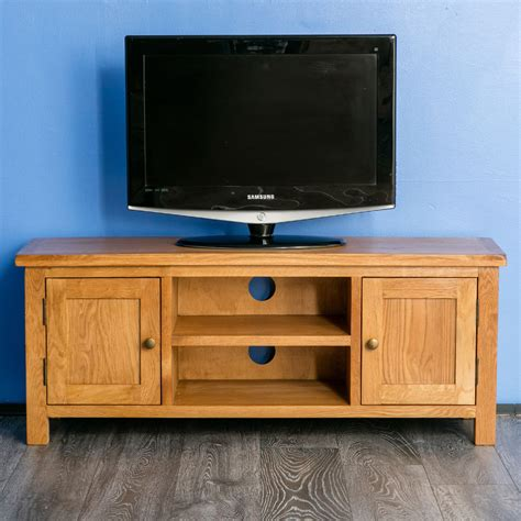 oak tv stands surrey oak large tv stand oak plasma tv unit cabinet brand new rustic oak ebay