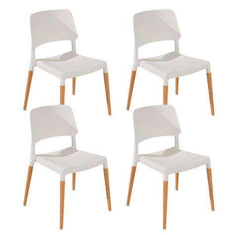 lot de 4 chaises lot de 4 chaises quot deli quot blanc