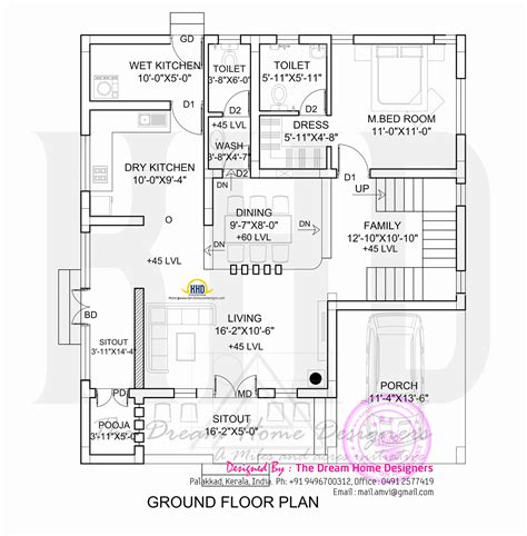 ground floor plan 1700 sq 3d house elevation and plan kerala home