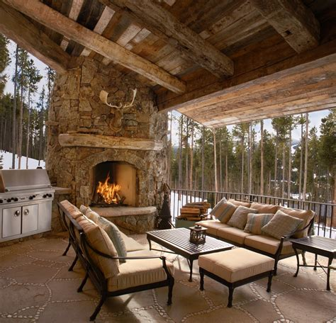 outdoor living spaces  fireplace patio rustic