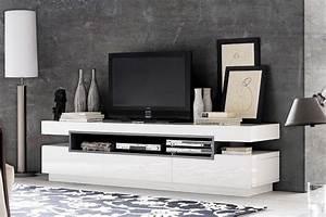 Meuble Bas Blanc Laqué : meuble tv bas design blanc laque cocon ~ Edinachiropracticcenter.com Idées de Décoration