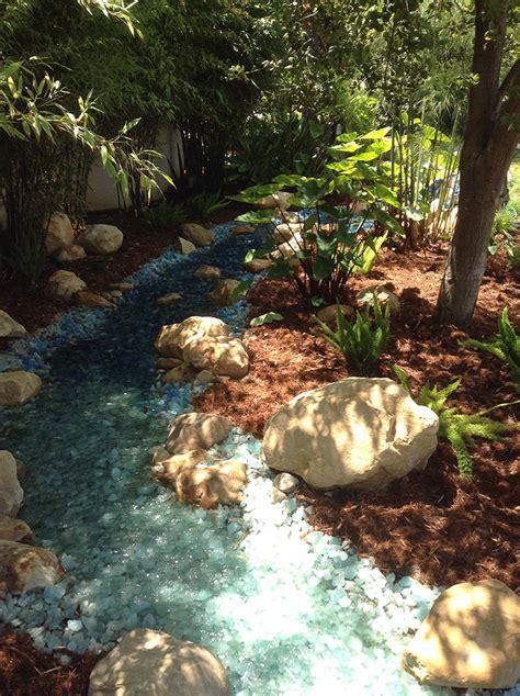 fire glass  landscaping glass ideas inspiration