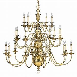 Classic new england colonial solid brass chandelier