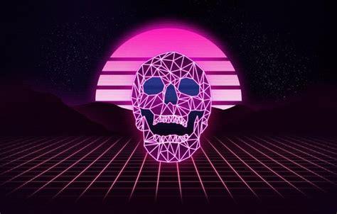 wallpaper  stars skull neon background synthpop
