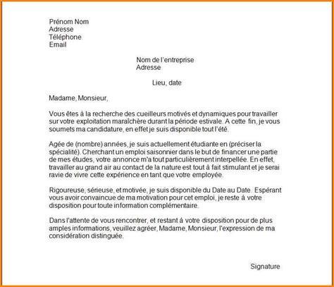 lettre de motivation employé de bureau 5 modèle lettre de motivation emploi saisonnier format