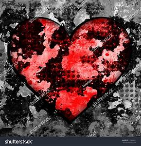Grunge Heart Background With Red Spots Stock Photo ...