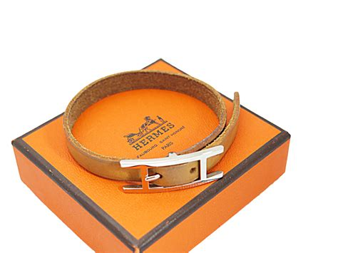 Auth Hermes H Logo Single Wrap Bracelet Brown Leather