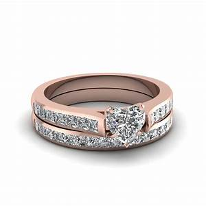 18K Rose Gold Heart Shaped White Diamond Wedding Sets ...
