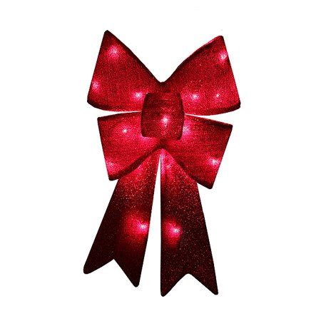 red sparkly lighted christmas bow decoration red