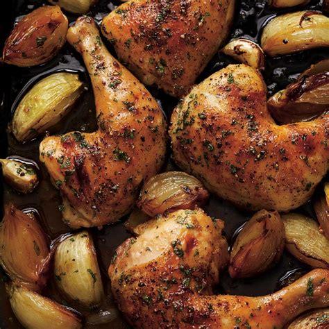 cuisiner haut de cuisse de poulet cuisses de poulet rôties à l 39 oignon ricardo