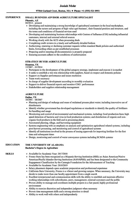 Agriculture Resume Samples