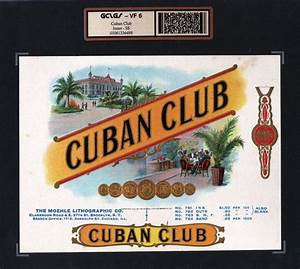 Cuban Club VF 6 Vintage Cigar Box Advertising Label #6498.jpg