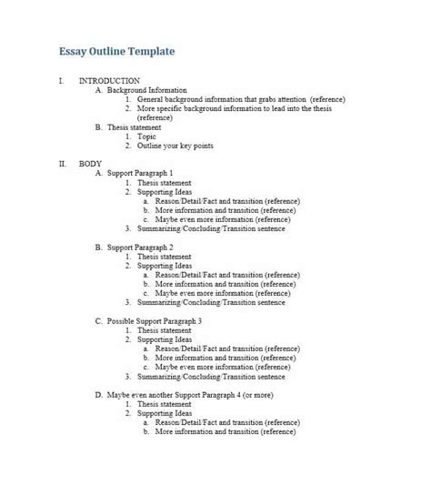 Essay Outline Template Printable Research Paper Outline Template