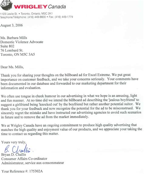 letter  wrigley canada closing  letter formal letter