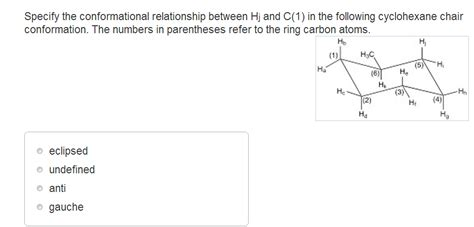 cyclohexane chair conformation practice specify the conformational relationship between hj