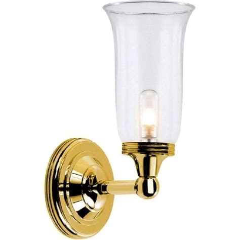 Polished Brass Bathroom Wall Light With Storm Glass Shade