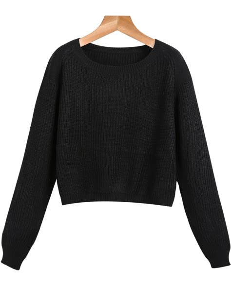 cropped black sweater black sleeve crop cable knit sweater shein sheinside