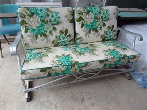 vintage 50 s patio glider w original cushions aluminum