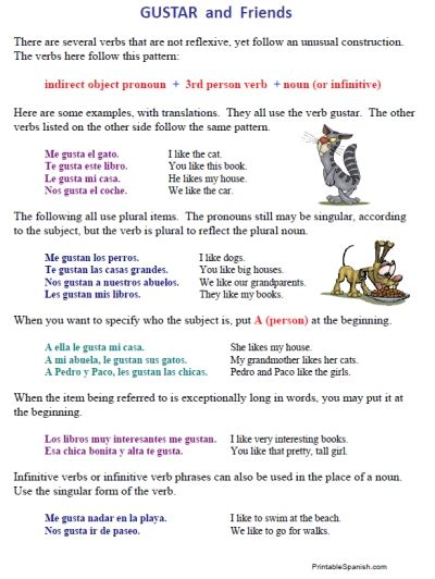 Free Reflexive Verbs & Gustar Worksheets  Printable Spanish