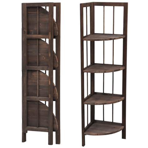 Clearance Bookcase by Popamazing Corner Bookcase Shelving Storage 4 Tiers