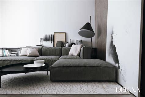 blickdichte vorhänge verdunkelung modernen minimalistischen interieur mit grau blau grau
