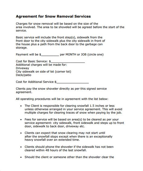 Snow Removal Contract Template Free by Snow Plowing Contract Template 7 Free