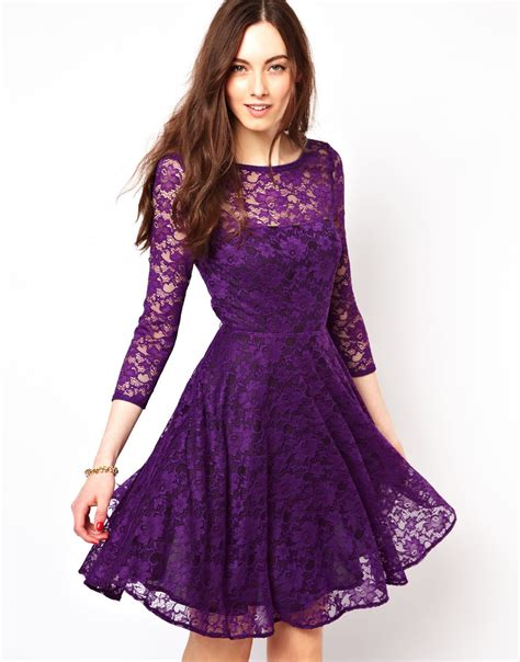 connection lace evening dress in purple lyst