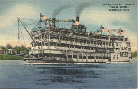Boat Auctions Cincinnati Ohio by 1943 Coney Island Steamer Quot Island Quot Postcard