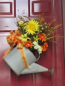 Front, Door, Wreath, Alternative, Using, An, Antique, Watering, Can