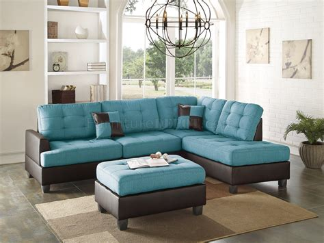 teal settee f6859 sectional sofa 3pc in teal fabric by