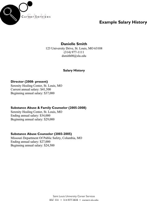 Salary History On Resume Template by The Exle Salary History Can Help You Make A