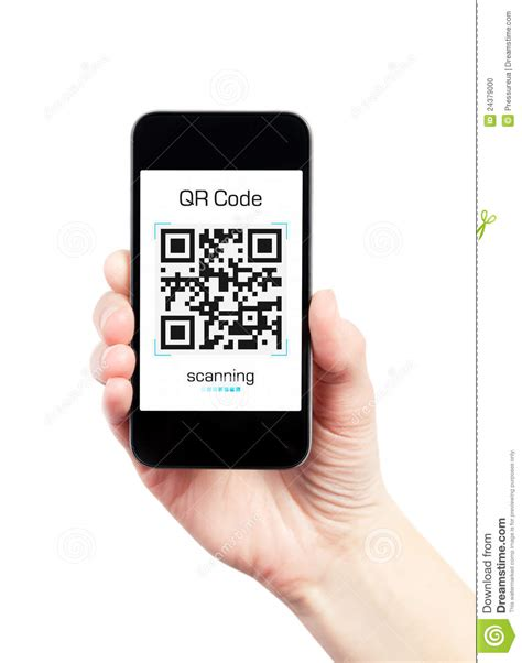 free scanner cell phone holding mobile phone with qr code scanner editorial