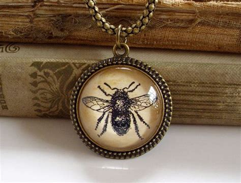 bumble bee necklace antique print insect pendant