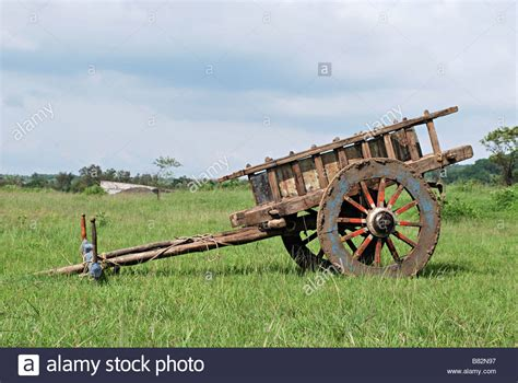 indian cart bullock cart without bulls parked in farm khanapur