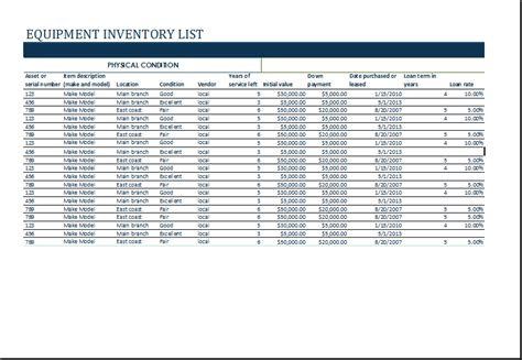 restaurant equipment list excel ms excel equipment inventory list template excel templates