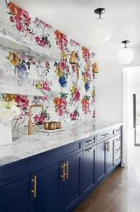 dark blue bar cabinets with glossy black backsplash tiles With kitchen cabinet trends 2018 combined with art for room wall