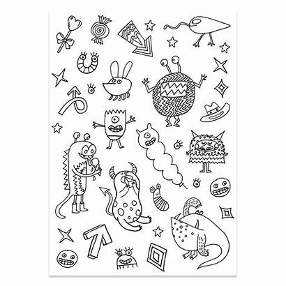 Stickers Colouring Activity Insects Pattern X132 Monsters