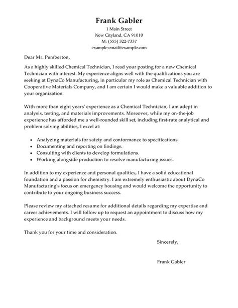 Engineering Technician Cover Letter Best Chemical Technicians Cover Letter Exles Livecareer