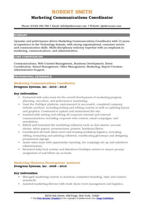 Communication Coordinator by Marketing Communications Coordinator Resume Sles