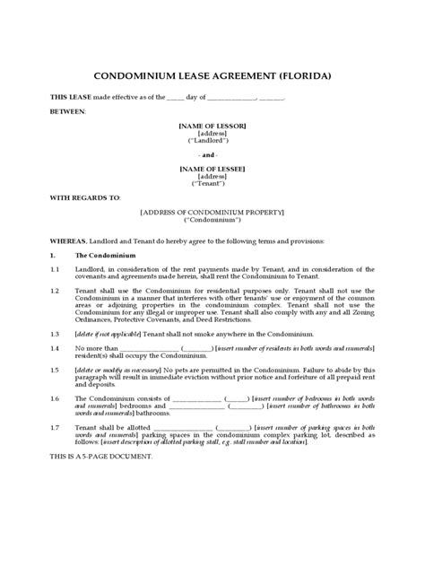 condo lease agreement   templates   word