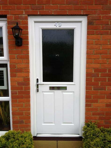 white composite front door  dorking glass