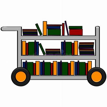 Library Cart Books Illustration Cartoon Different Filled