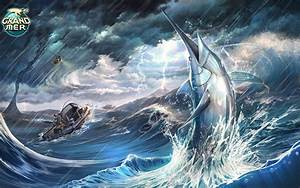 Fish marlin Animals storm ocean sea fishing rain wallpaper ...