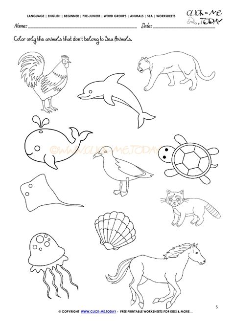 following directions coloring worksheets coloring pages 542 | sea animals worksheets 5