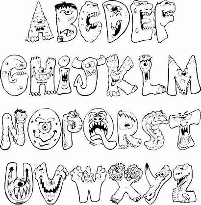 Scary Monsters Alphabet Coloring Pages Letters Graffiti