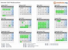 Kalender 2017 + Ferien Niedersachsen, Feiertage