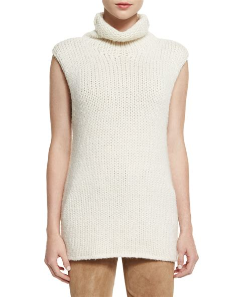 sleeveless turtleneck sweater theory vandrona sleeveless turtleneck sweater in white lyst